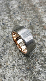 "Gold & Stainless Damascus  7.5mm ring ""wood-grain"" extra polished finish damscus steel gold ring"