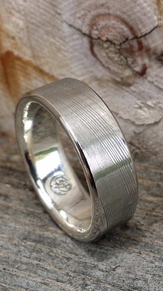 8mm damascus steel ring Gold & Stainless Damascus