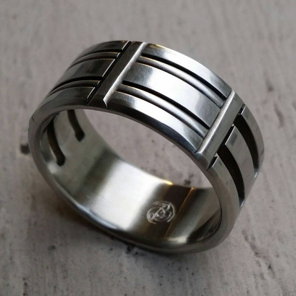 "30 ""TRESTLE"" handmade stainless steel ring (not casted) hypoallergenic mens rings wedding band mens jewelry wedding rings"