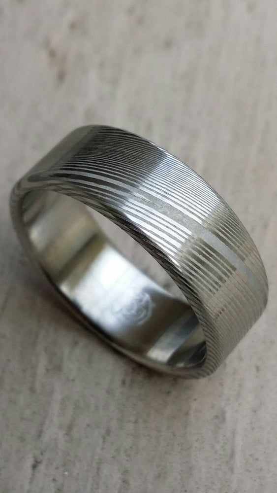 "Damascus ring Stainless steel Damascus ""WOODGRAIN"" Customizable ring! Med /light color etch damascus steel ring"
