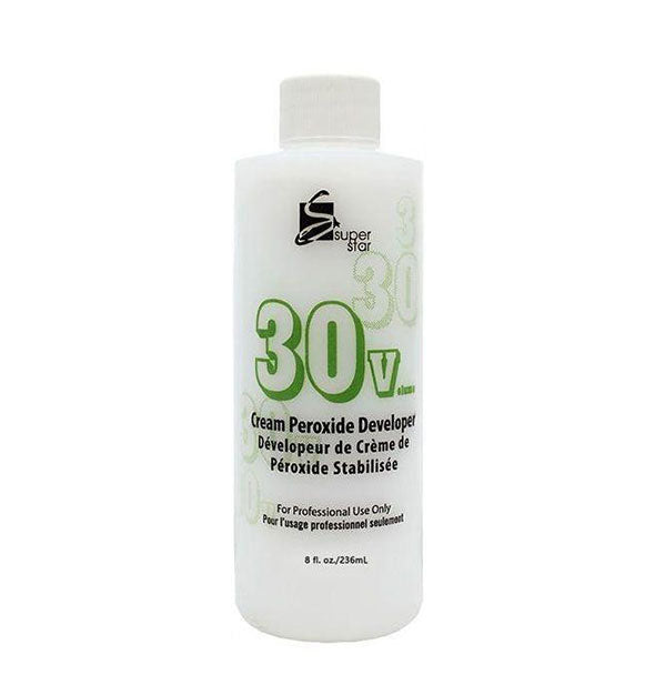 A bottle of 30 Volume Cream Peroxide Developer For Professional Use Only - 8 OZ from Supergoop!