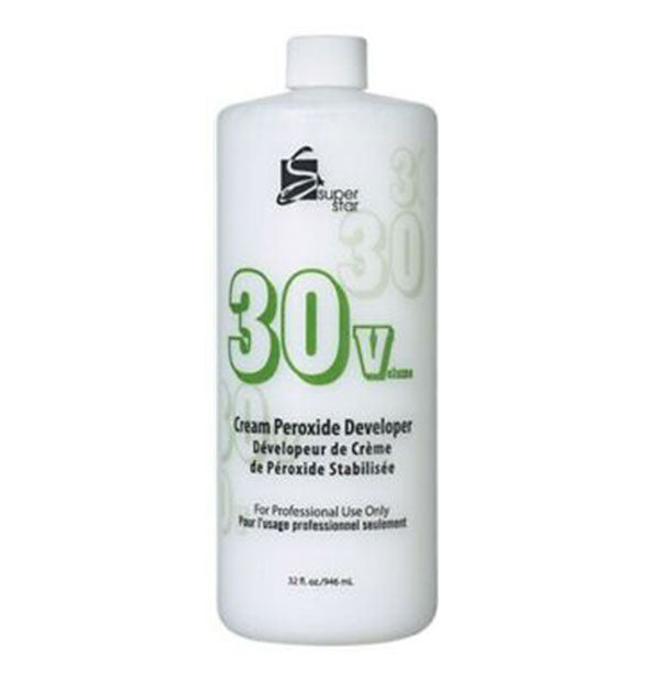 A bottle of 30 Volume Cream Peroxide Developer For Professional Use Only 32 OZ from Supergoop!