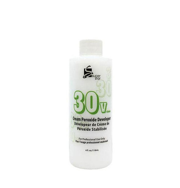 A bottle 30 Volume Cream Peroxide Developer For Professional Use Only - 4 OZ from Supergoop!
