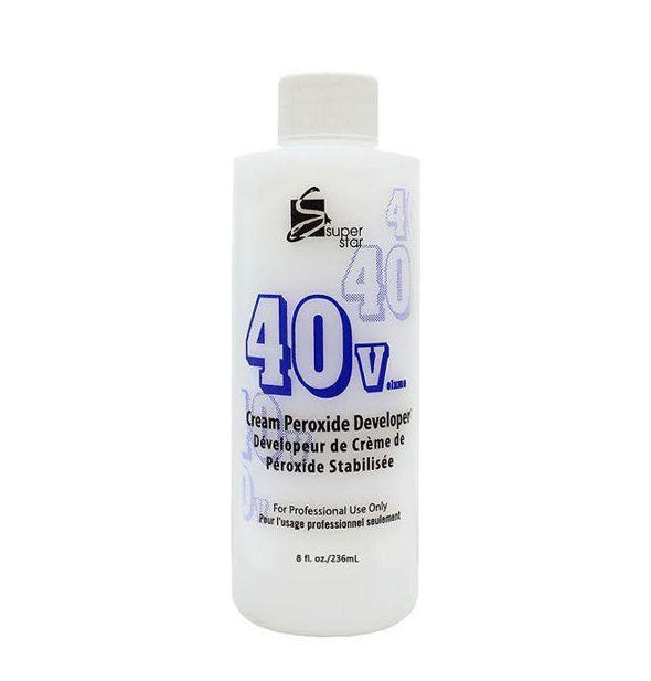 A bottle of 40 Volume Cream Peroxide Developer for Professional Use Only - 8 OZ by Super Star