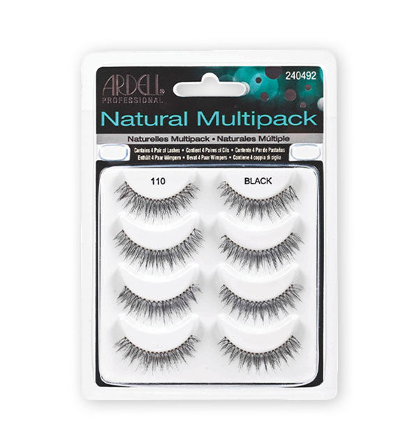 4 Pack Natural black Lashes #110 with glue