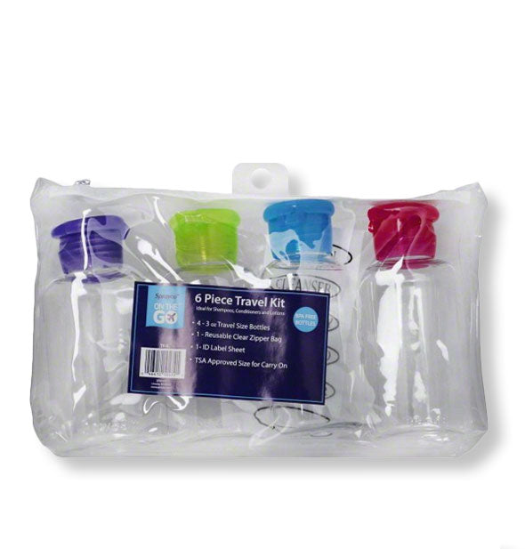 Clear bag with four refillable travel bottles shown in different cap colors