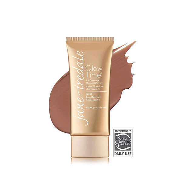 Gold-toned tube of Jane Iredale Glow Time Full Coverage Mineral BB Cream with sample swatch behind in the shade BB11.