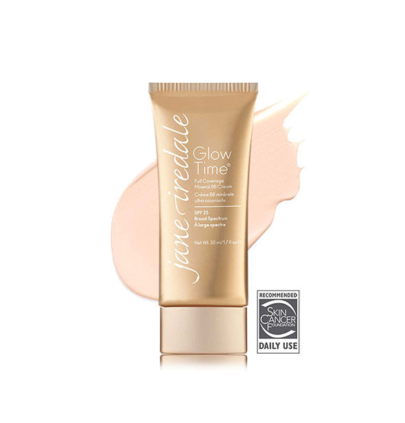 Gold-toned tube of Jane Iredale Glow Time Full Coverage Mineral BB Cream with sample swatch behind in the shade BB1.