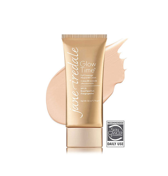 Gold-toned tube of Jane Iredale Glow Time Full Coverage Mineral BB Cream with sample swatch behind in the shade BB3.