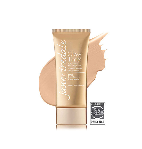 Gold-toned tube of Jane Iredale Glow Time Full Coverage Mineral BB Cream with sample swatch behind in the shade BB4.