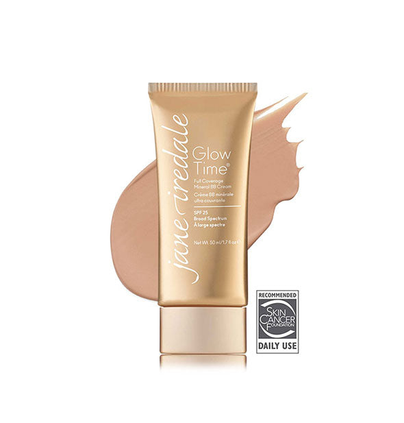 Gold-toned tube of Jane Iredale Glow Time Full Coverage Mineral BB Cream with sample swatch behind in the shade BB6.