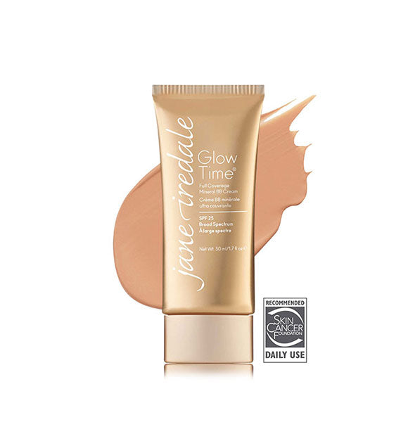 Gold-toned tube of Jane Iredale Glow Time Full Coverage Mineral BB Cream with sample swatch behind in the shade BB7.