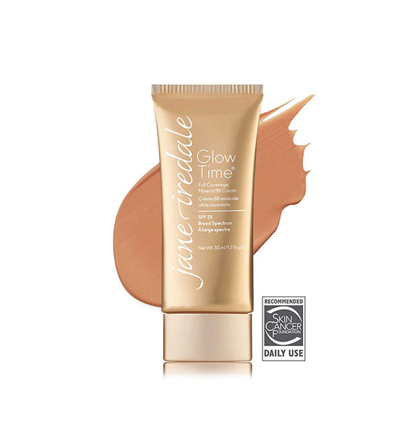 Gold-toned tube of Jane Iredale Glow Time Full Coverage Mineral BB Cream with sample swatch behind in the shade BB8.
