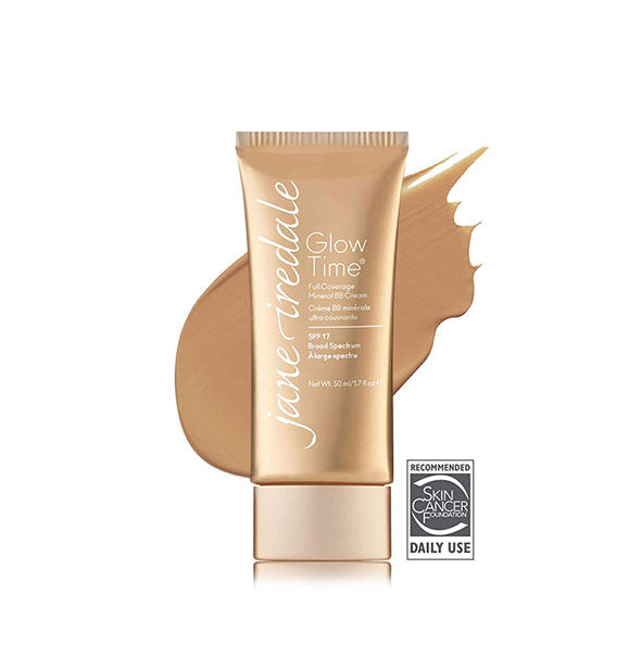 Gold-toned tube of Jane Iredale Glow Time Full Coverage Mineral BB Cream with sample swatch behind in the shade BB9.