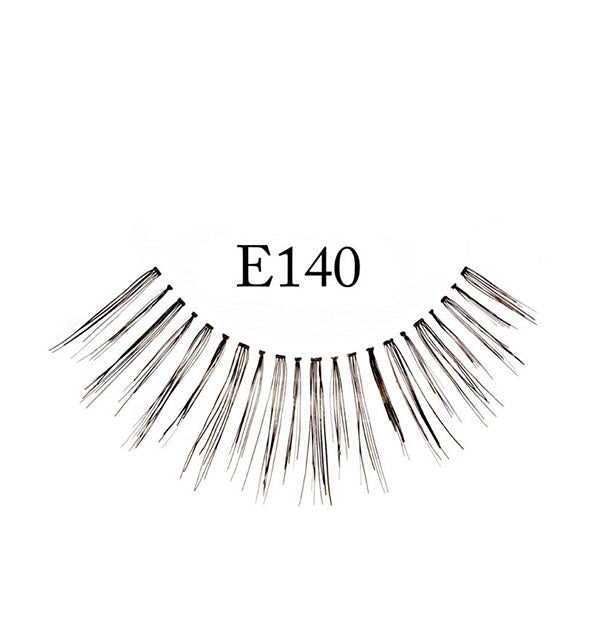 "A false eyelash strip with close intermittent spacing and fiber length is labeled, ""E140."""