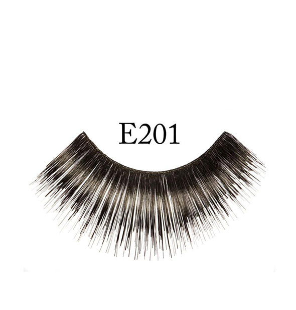 "A false eyelash strip with dense fibers in feathered shape is labeled, ""E201."""