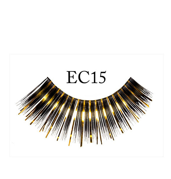 "A false eyelash strip in black with gold tinsel-like strands mixed in is labeled ""EC15."""