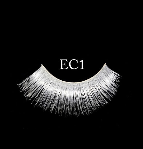 "A white false eyelash strip on black background is labeled, ""EC1."""