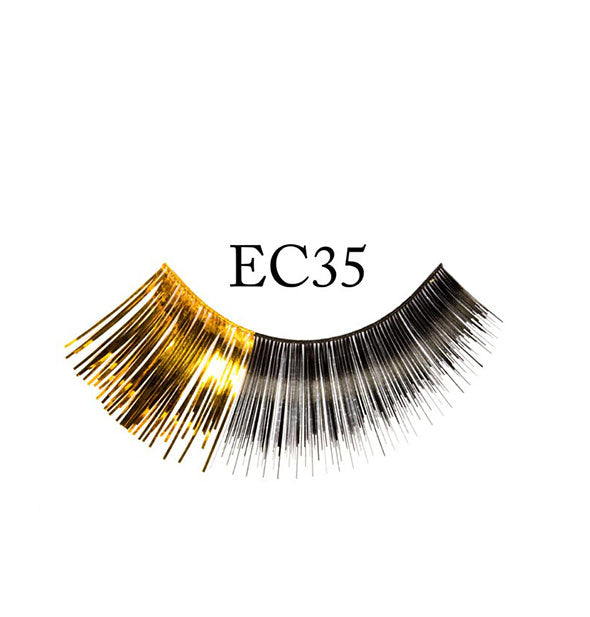 "A false eyelash strip in mostly black with a shiny gold outer flare is labeled, ""EC35."""