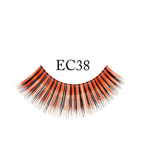 "A false eyelash strip in alternating black and orange fibers is labeled, ""EC38."""