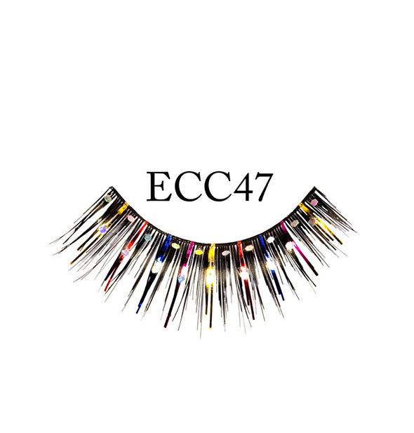 "A false eyelash strip in black with intermittent multicolor glitter fibers and accents is labeled, ""ECC47."""