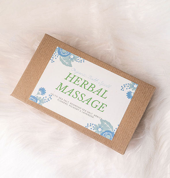 A box of HERBAL MASSAGE Bath Spell