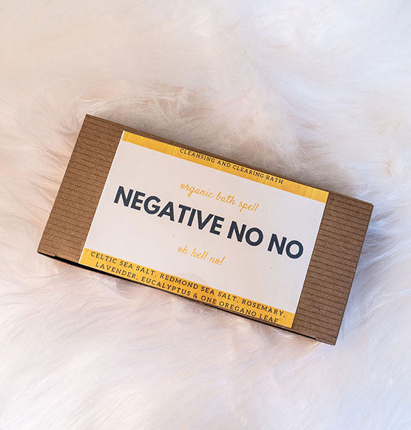 A box of NEGATIVE NO NO Bath Spell