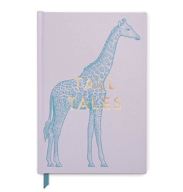 "Purple journal with blue giraffe graphic stamped with the words ""Tall Tales"" in gold foil."