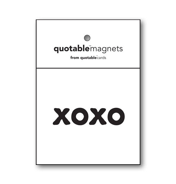 """XOXO"" black and white square magnet"