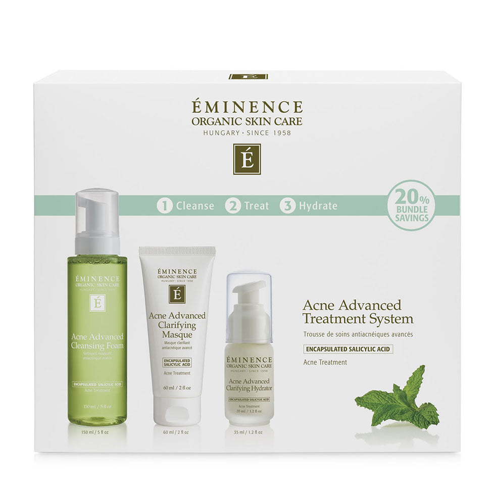 Organic Acne Advanced Treatment System  cleanser masque and hydrator