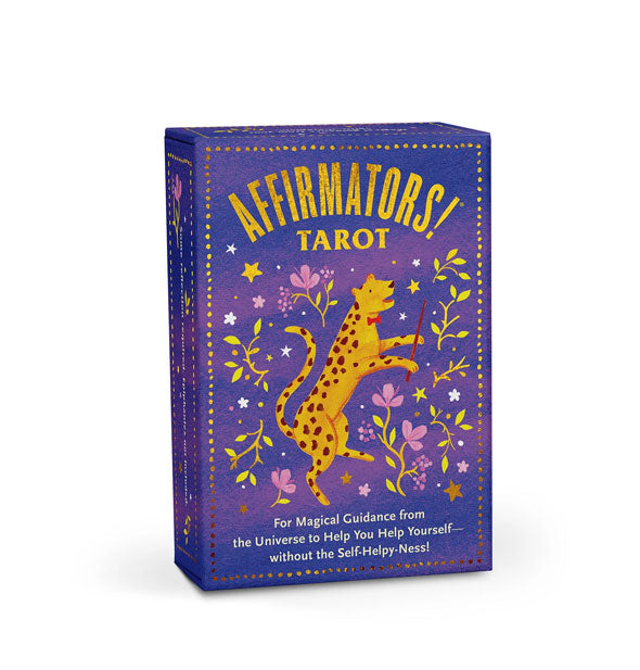 Purple Affirmators! Tarot card deck box with whimsical illustrations and gold accents
