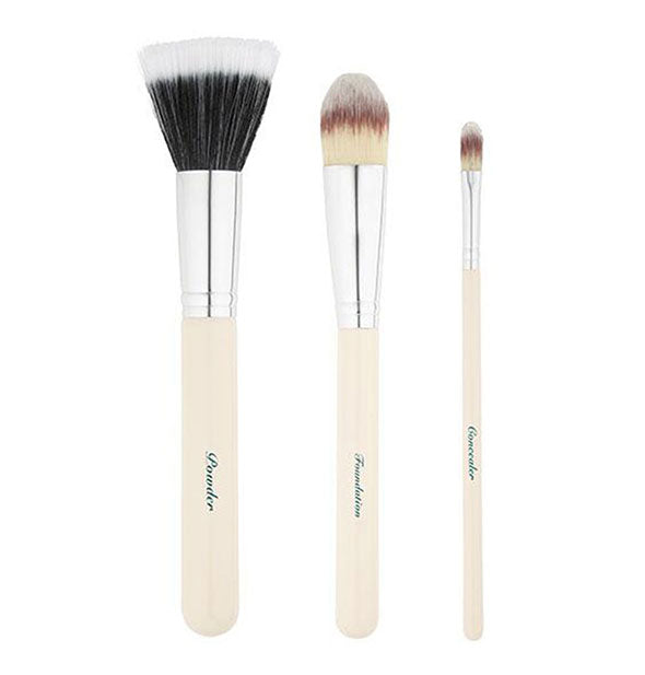 The Airbrush Face Brush Set of 3 brushes displayed out of packages