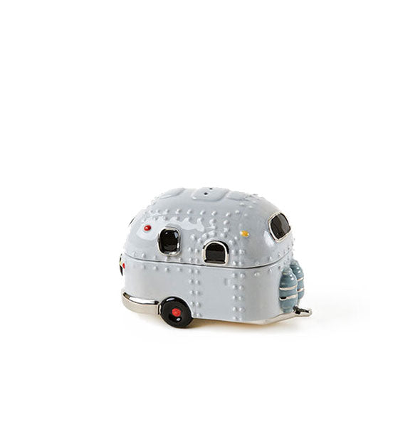 Stacked gray ceramic airstream trailer camper salt and pepper shaker set