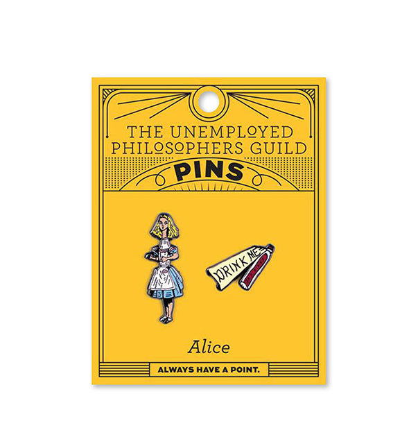 2 enamel pins Alice In Wonderland Alice and Drink Me