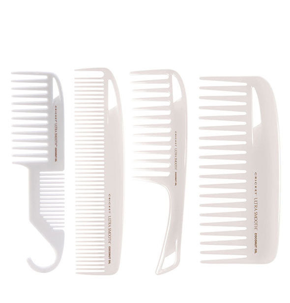 4 White Ultra Smooth Coconut Oil Combs