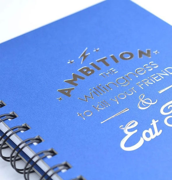 Blue wire-bound journal with metallic silver lettering