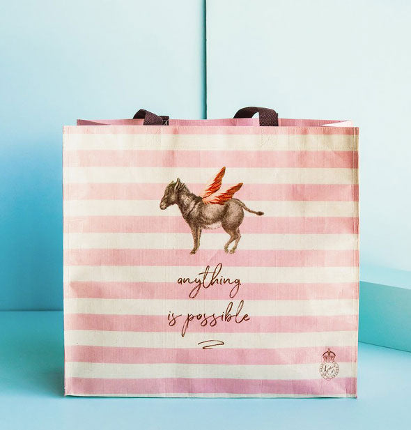 Anything Is Possible Donkey Market Tote with pink and ivory stripes