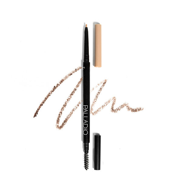 Two Palladio Brow Definer Micro Pencils, one with caps on and one with caps off to show spoolie and pencil tips, in the shade Ash Brown.
