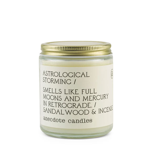 Jar candle with text-heavy label and screw-on metal lid