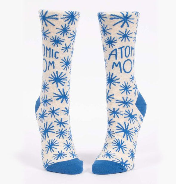Atomic Mom crew socks with blue and white asterisk design