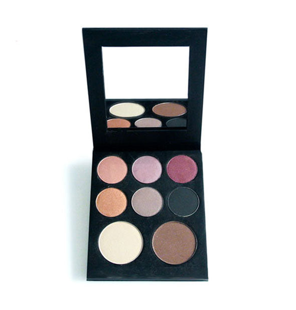 8-color eyeshadow palette by Pops Cosmetics in black case with mirror