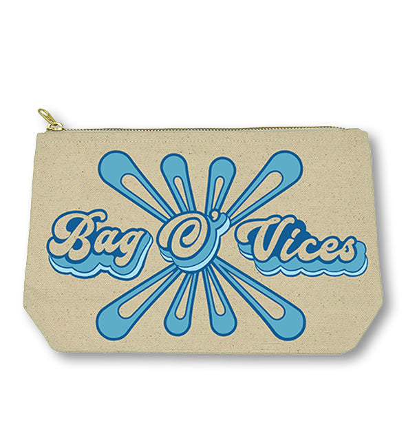 "Canvas cosmetic zip pouch with blue retro ""Bag O' Vices"" print and graphic"