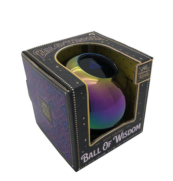 "An iridescent rainbow-colored sphere is packaged in a windowed box printed with the words, ""Ball of Wisdom."""