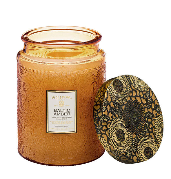 The Baltic Amber Large Embossed Glass Jar Candle 16 OZ 100 hour burn time