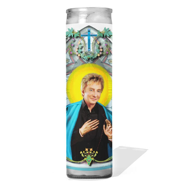 Prayer candle depicting singer-songwriter Barry Manilow as a saint
