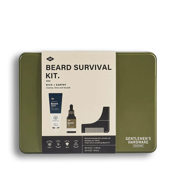Olive green Beard Survival Kit tin with label