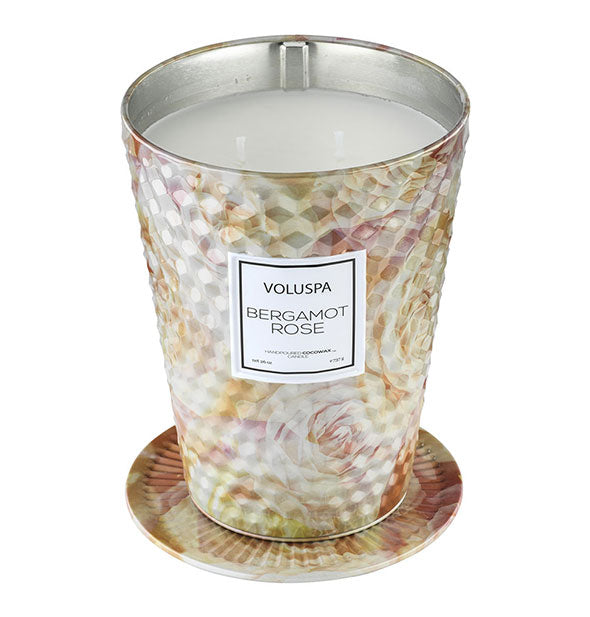 The Bergamot Rose Giant Tin Ice Cream Cone Table Candle  26 OZ 80 hour burn time