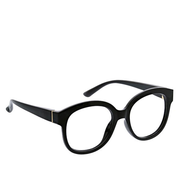 An angled front view of Peepers Catalina Readers in Black.