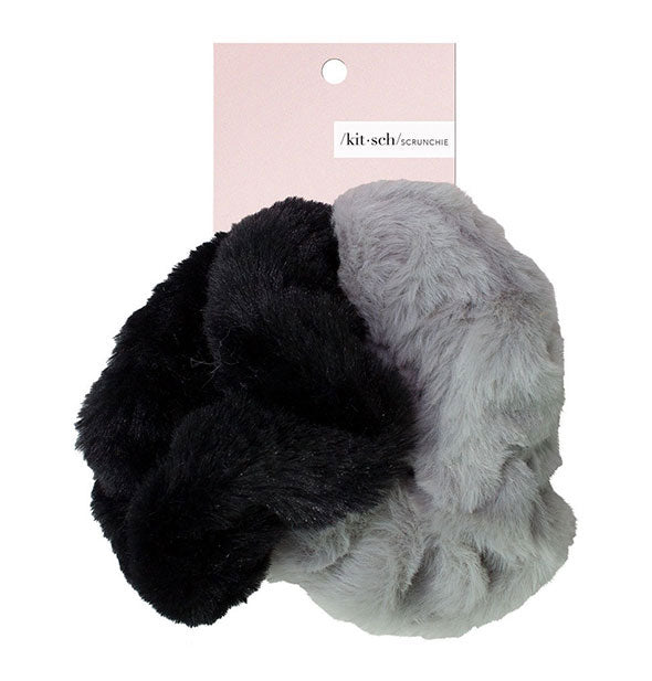 2 Piece Faux Fur Scrunchies in black and grey