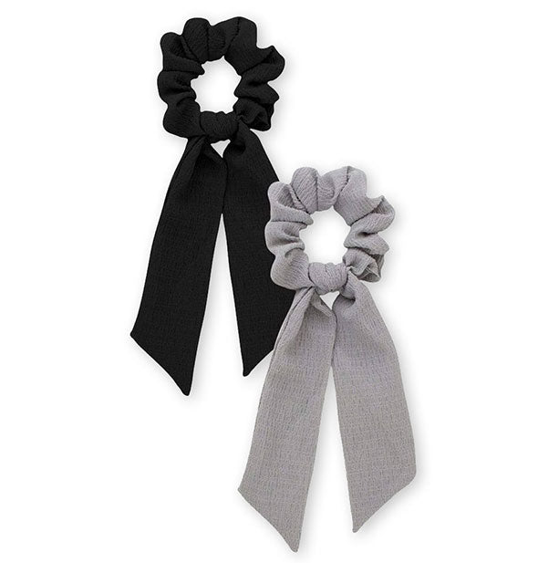 2 Piece Scarf Scrunchies in black and grey